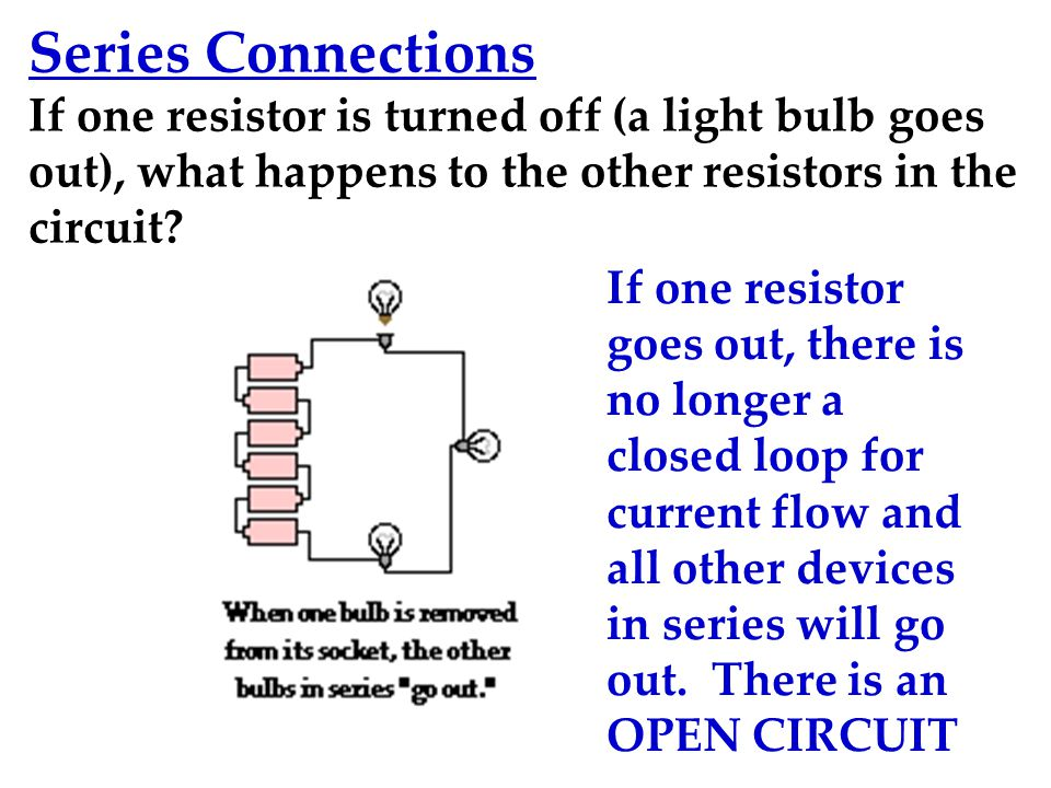 Series Connections If one resistor is turned off (a light bulb goes out), what happens to the other resistors in the circuit