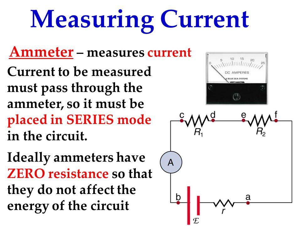 Measuring Current Ammeter – measures current