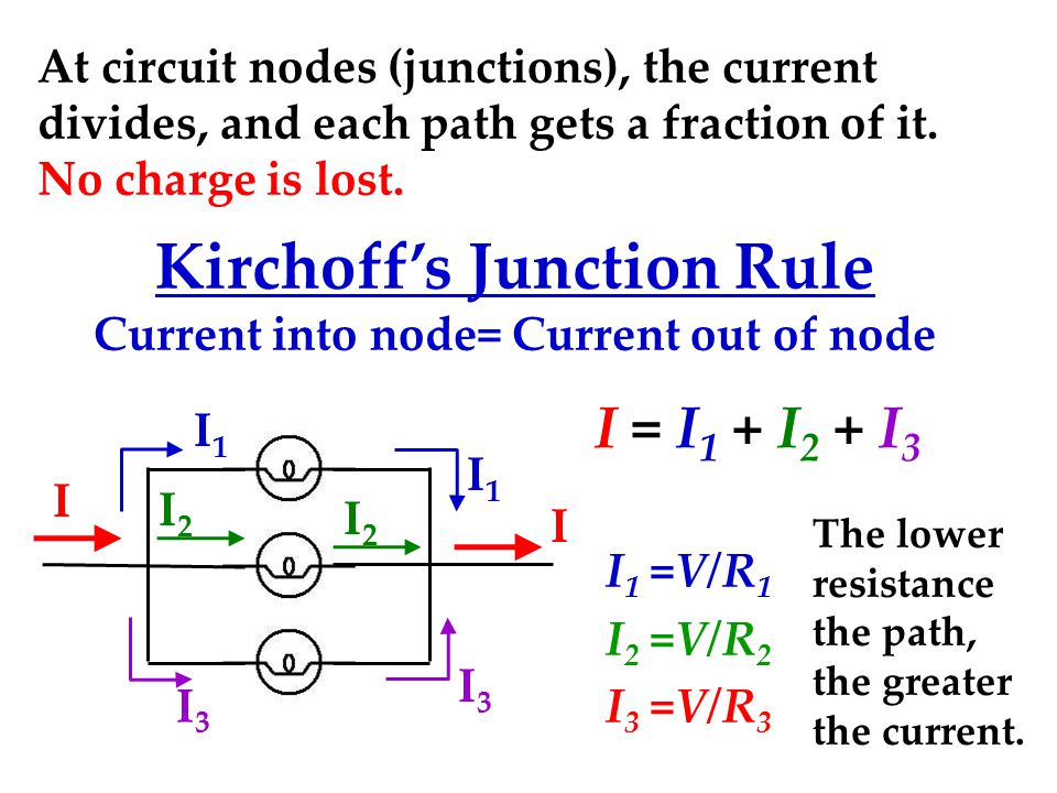 Kirchoff's Junction Rule Current into node= Current out of node