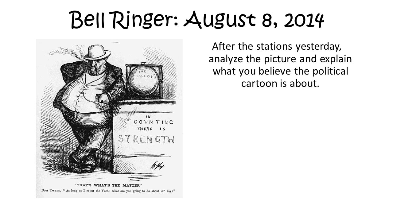 Bell Ringer: August 8, 2014 After the stations yesterday, analyze the picture and explain what you believe the political cartoon is about.