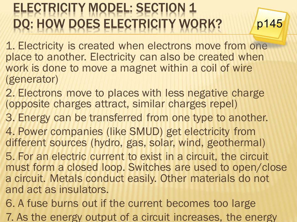Electricity model: Section 1 DQ: How does electricity work