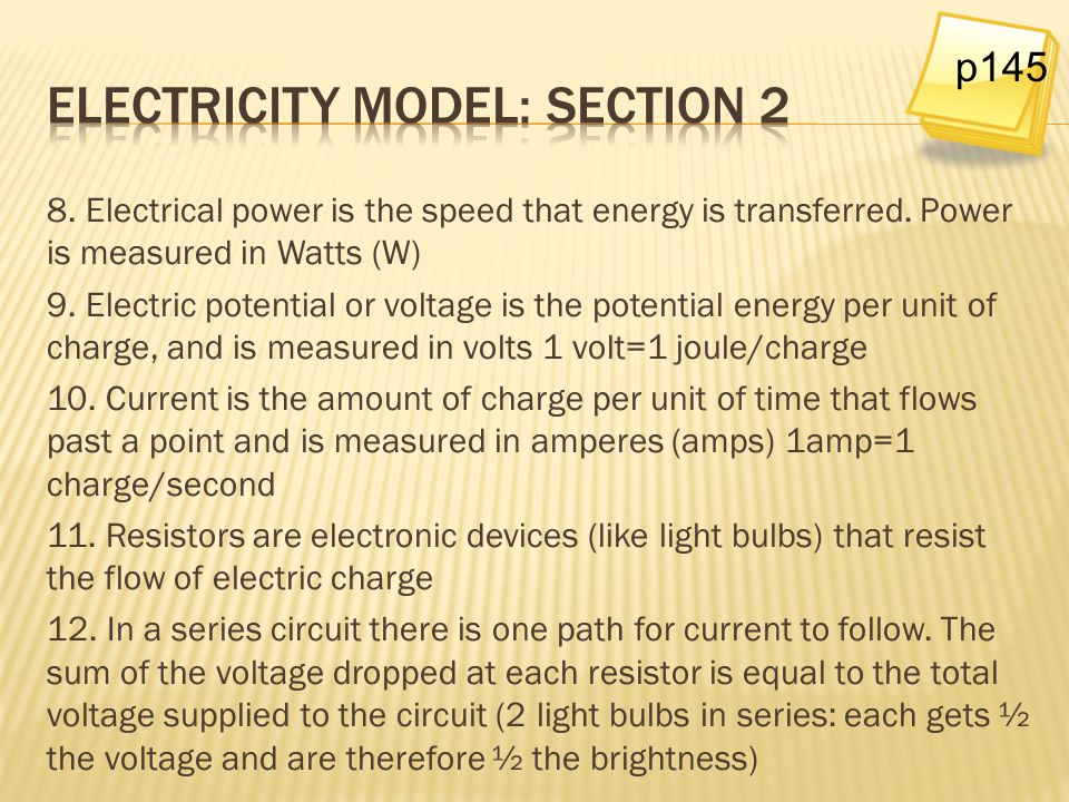 Electricity model: Section 2