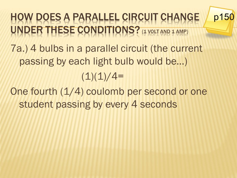 p150 How does a parallel circuit change under these conditions (1 volt and 1 amp)