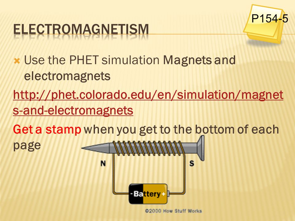 Electromagnetism Use the PHET simulation Magnets and electromagnets