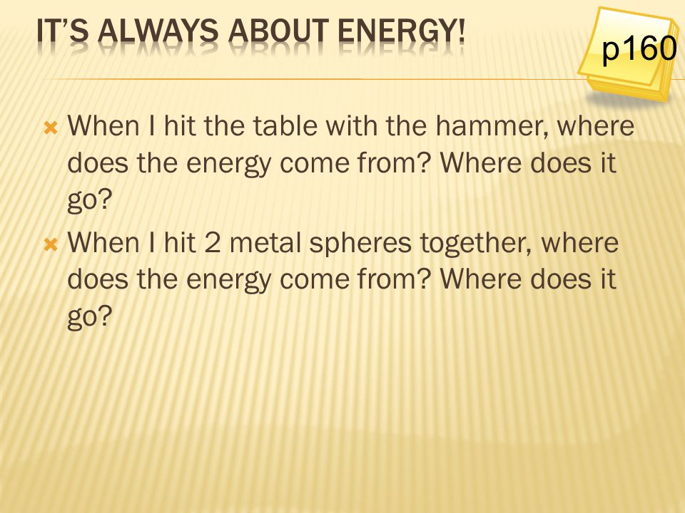 It's always about energy!