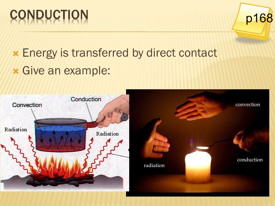 conduction p168 Energy is transferred by direct contact