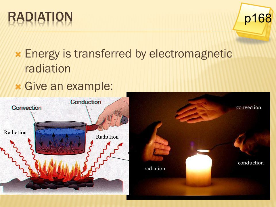radiation p168 Energy is transferred by electromagnetic radiation