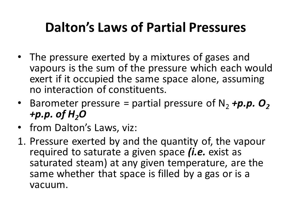Dalton's Laws of Partial Pressures