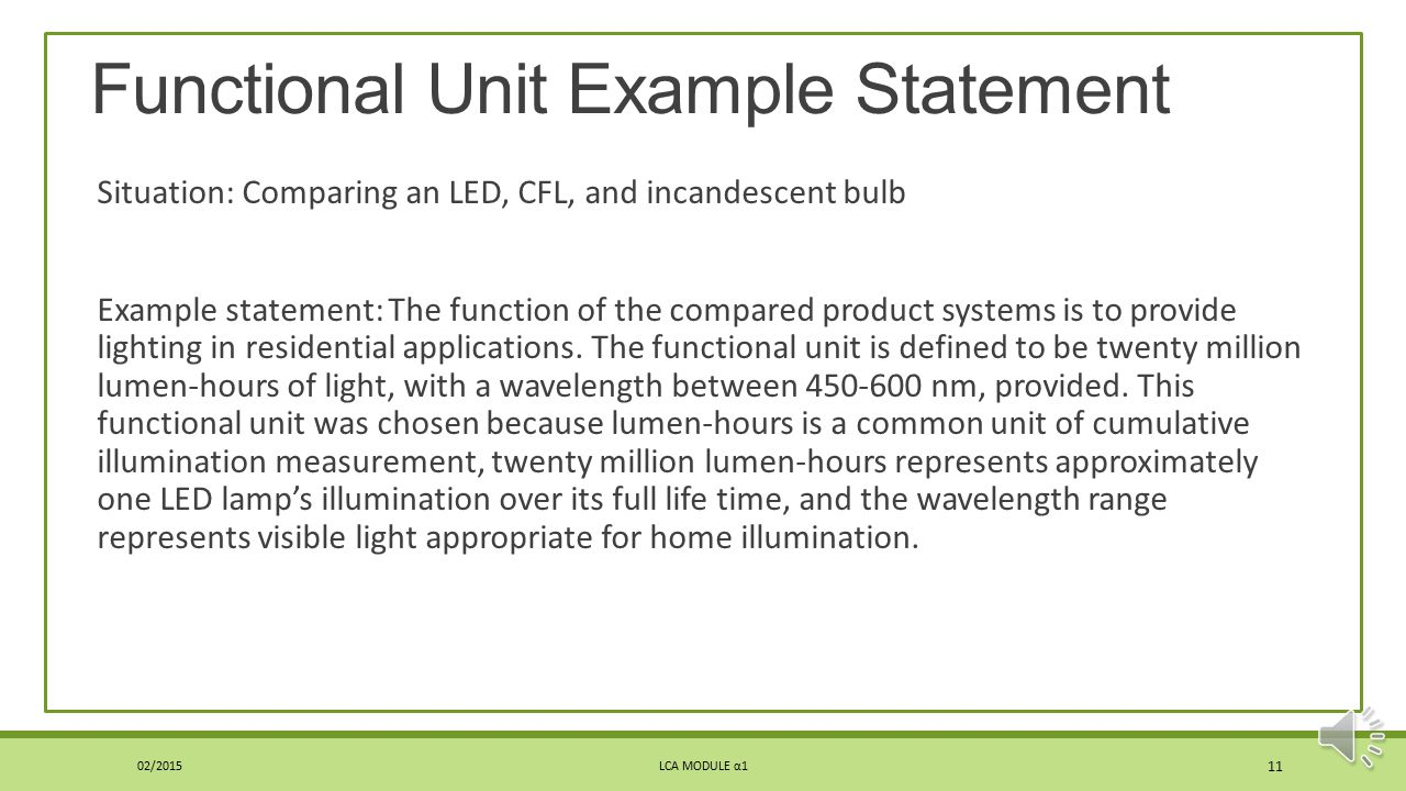 Functional Unit Example Statement