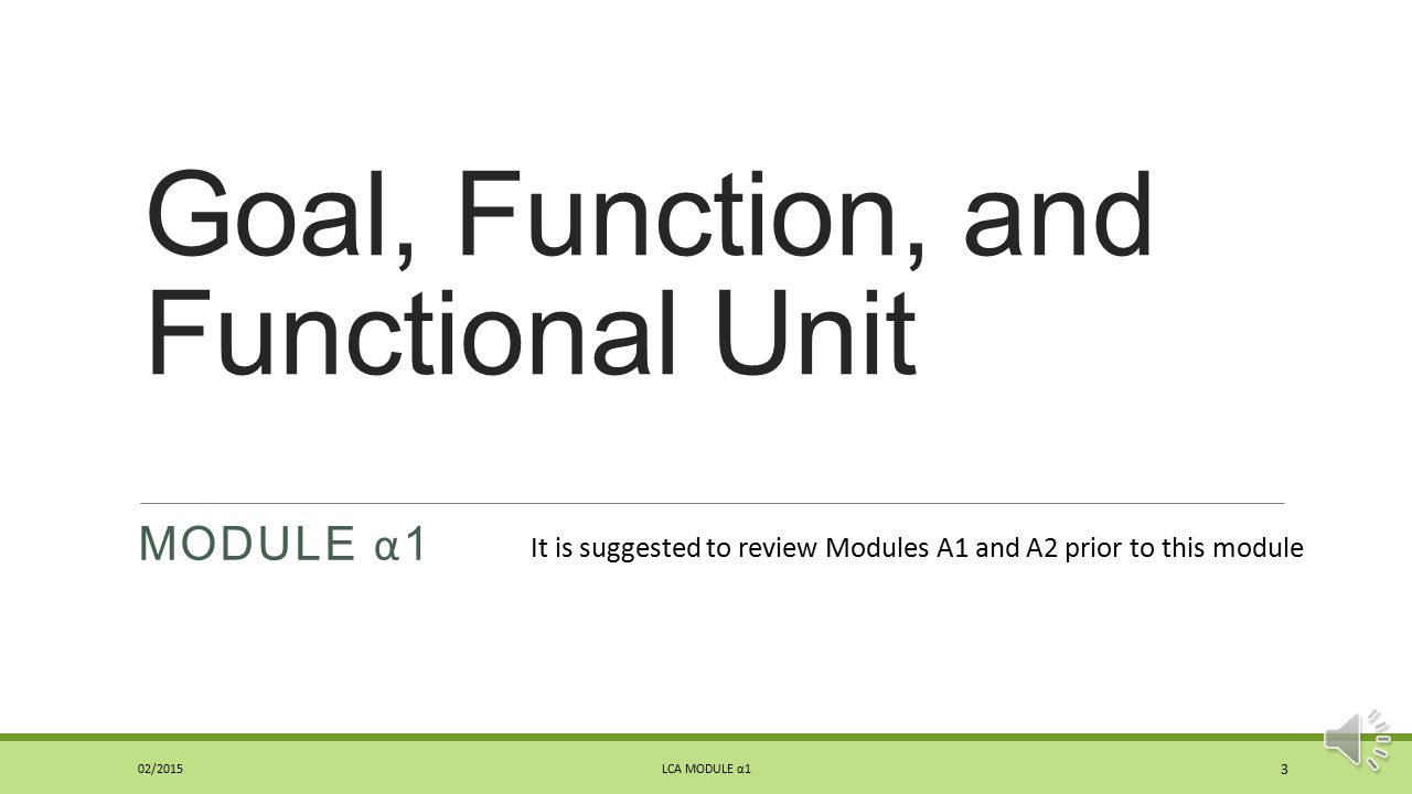 Goal, Function, and Functional Unit