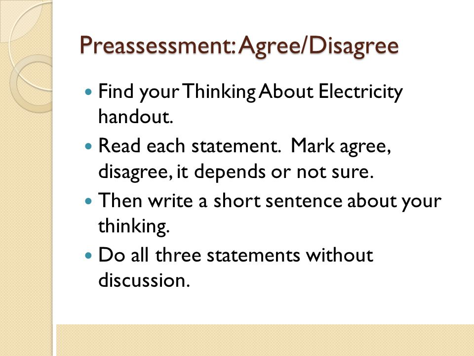 Preassessment: Agree/Disagree
