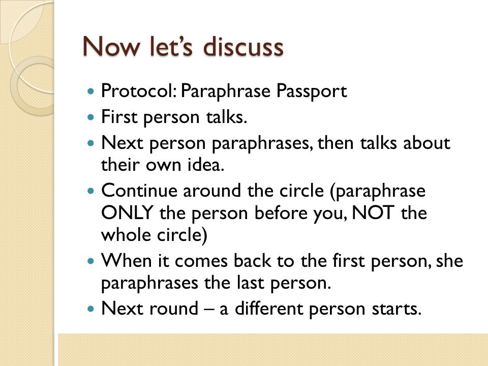 Now let's discuss Protocol: Paraphrase Passport First person talks.
