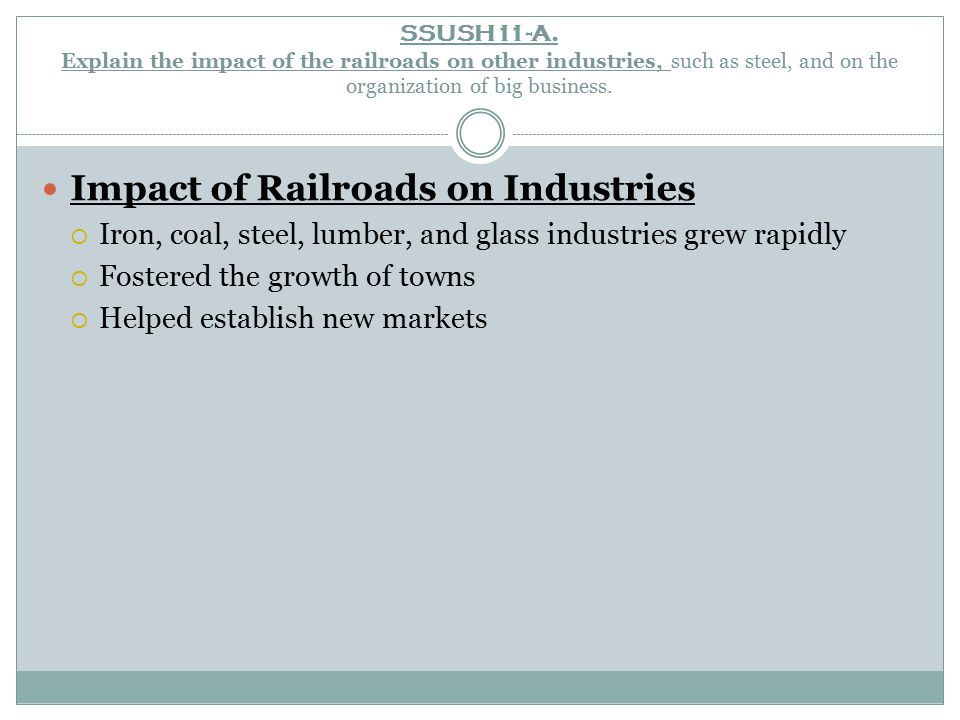 Impact of Railroads on Industries