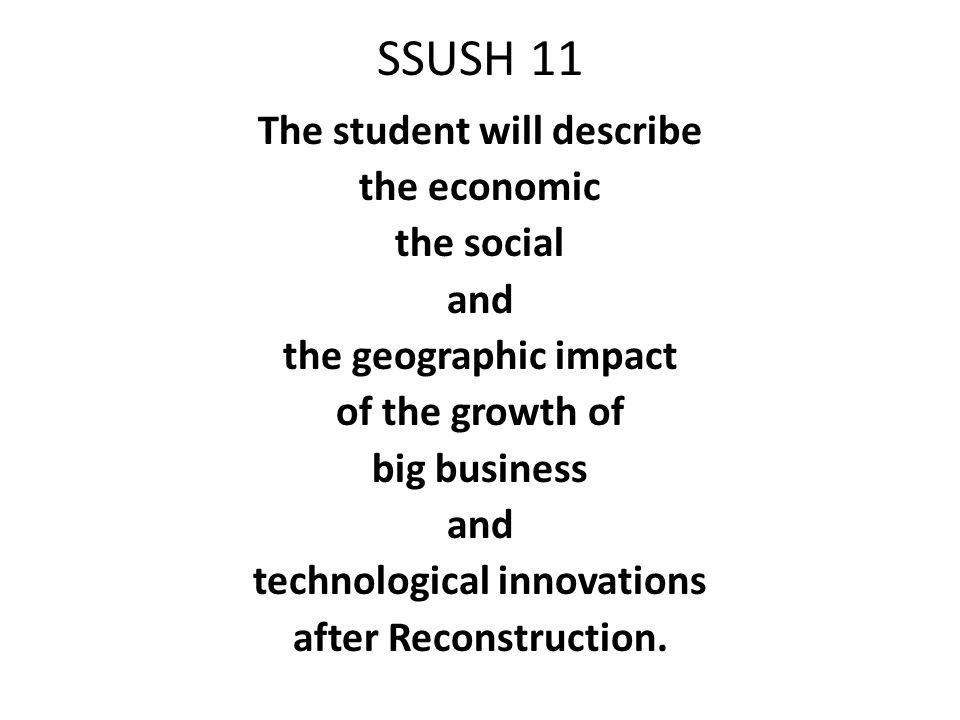 The student will describe technological innovations