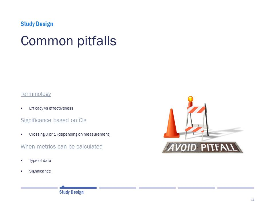 Common pitfalls Study Design Terminology Significance based on CIs