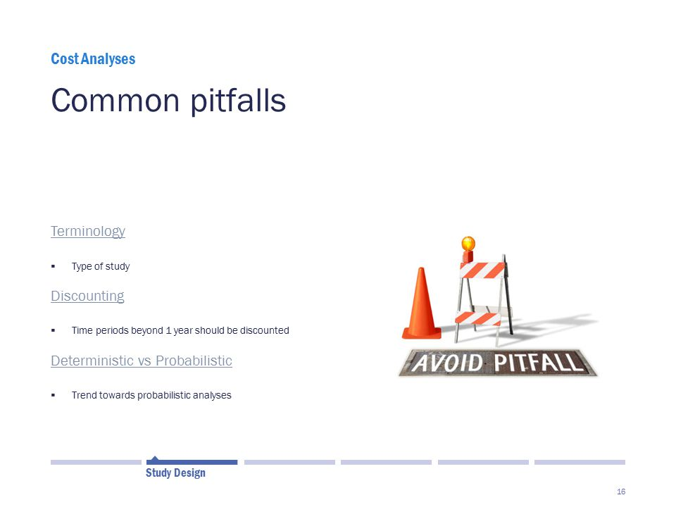 Common pitfalls Cost Analyses Terminology Discounting