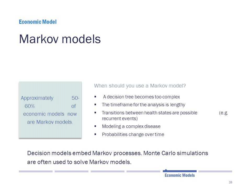 Approximately 50- 60% of economic models now are Markov models.