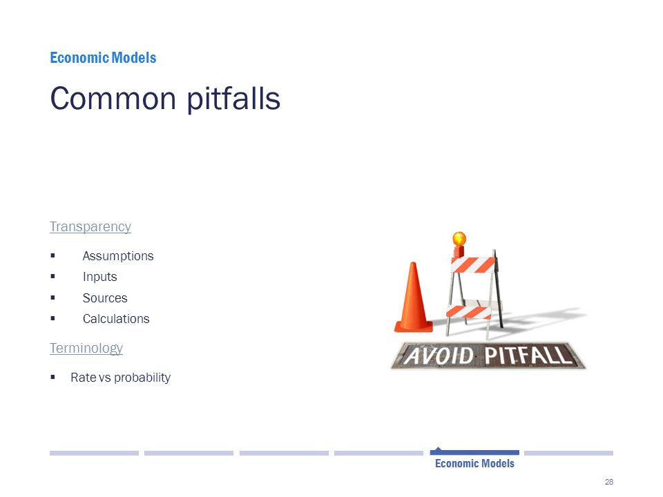 Common pitfalls Economic Models Transparency Terminology Assumptions