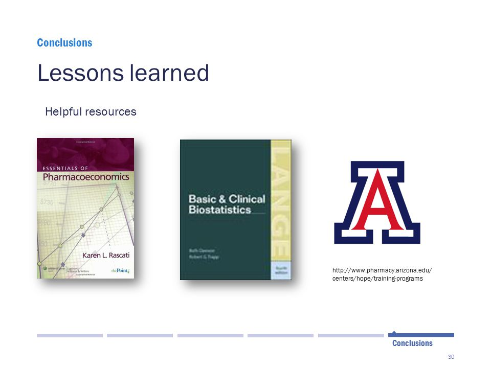Lessons learned Helpful resources Conclusions Conclusions