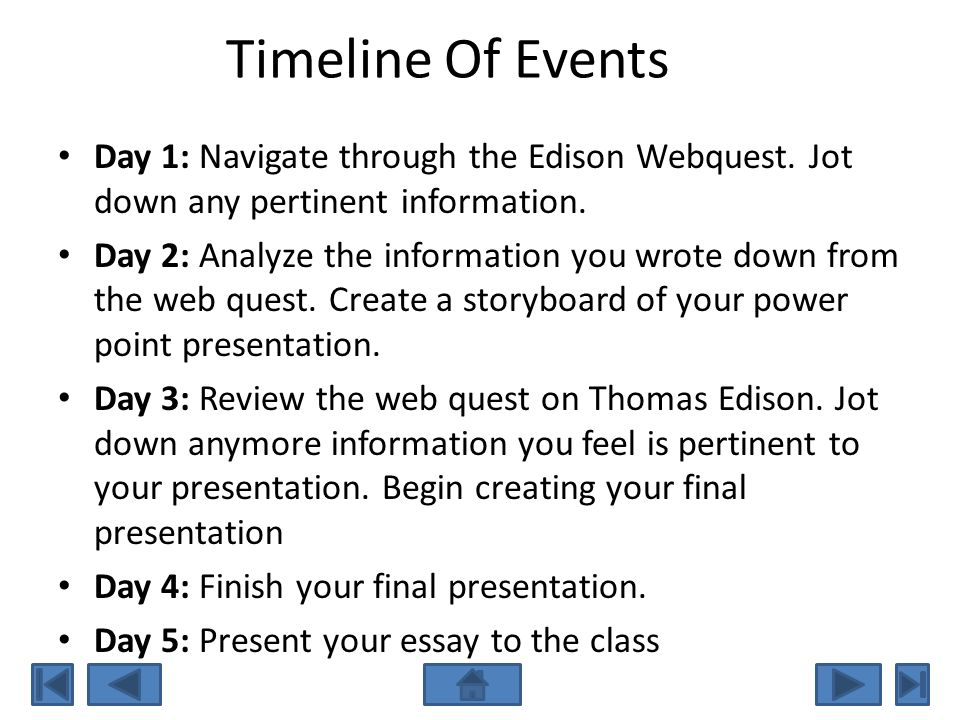Timeline Of Events Day 1: Navigate through the Edison Webquest. Jot down any pertinent information.