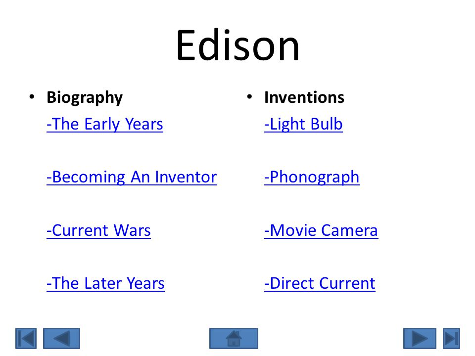 Edison Biography -The Early Years -Becoming An Inventor -Current Wars