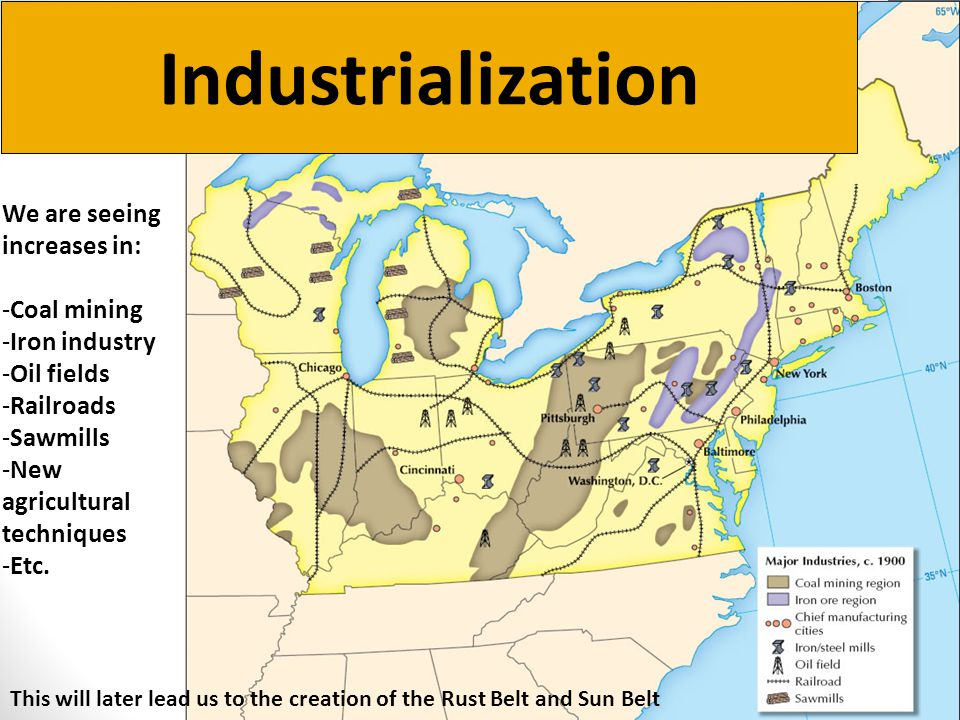 Industrialization We are seeing increases in: Coal mining
