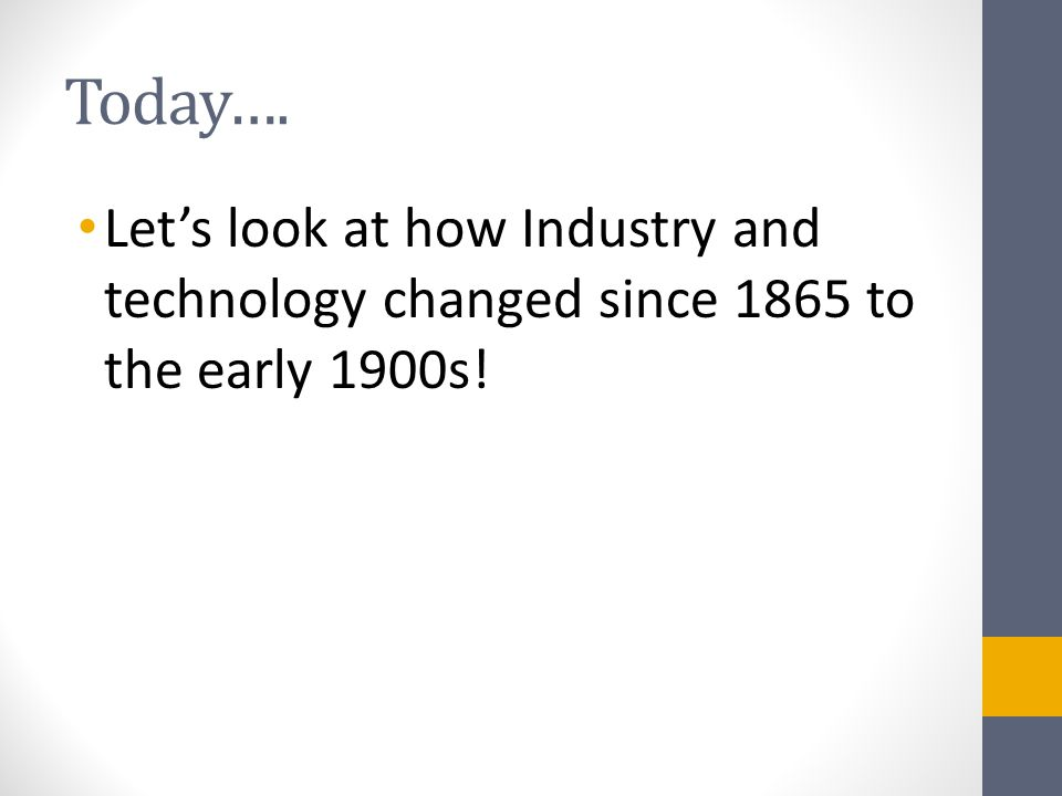 Today…. Let's look at how Industry and technology changed since 1865 to the early 1900s!