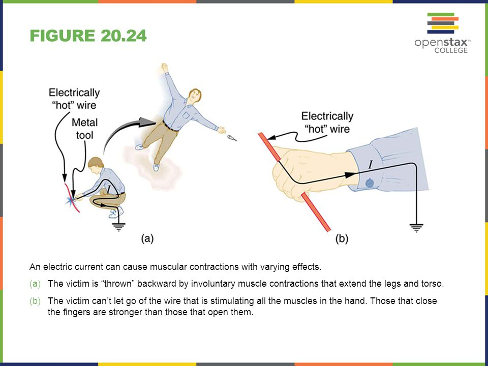 Figure 20.24 An electric current can cause muscular contractions with varying effects.