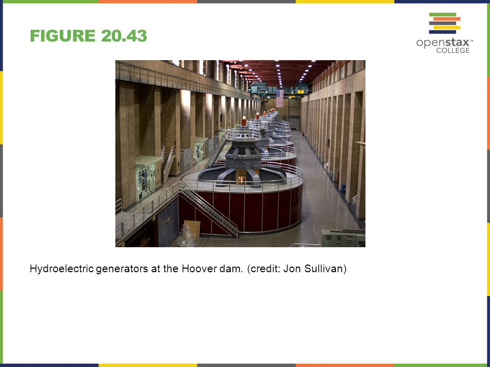Figure 20.43 Hydroelectric generators at the Hoover dam. (credit: Jon Sullivan)