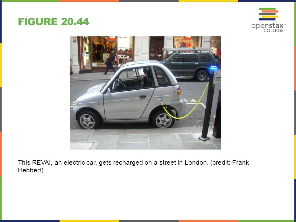 Figure 20.44 This REVAi, an electric car, gets recharged on a street in London.