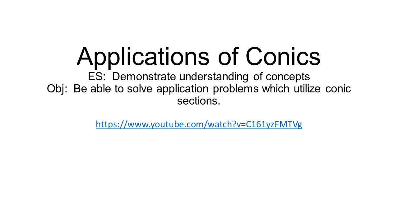Applications of Conics ES: Demonstrate understanding of concepts Obj: Be able to solve application problems which utilize conic sections.
