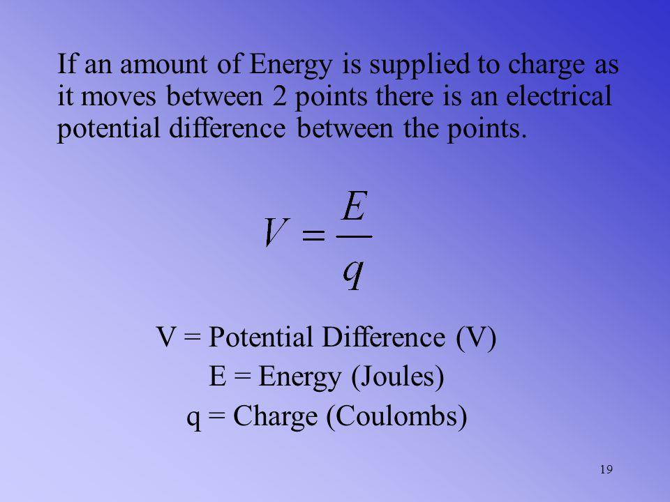 V = Potential Difference (V)