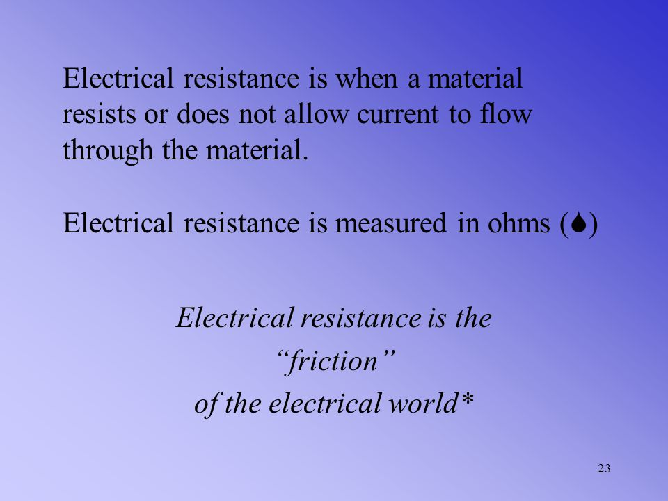Electrical resistance is measured in ohms ()