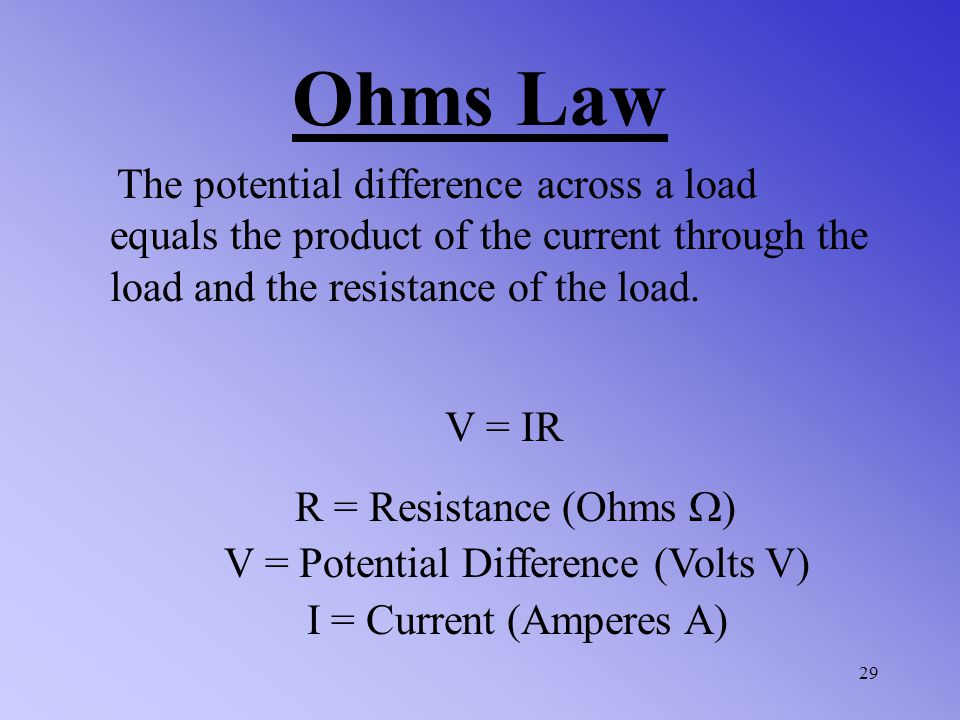 V = Potential Difference (Volts V)