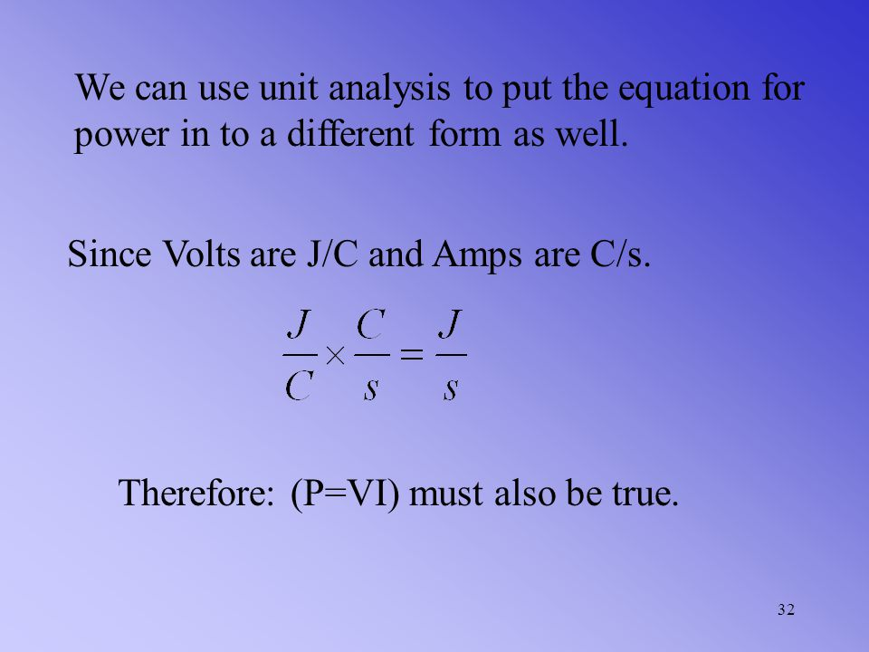 We can use unit analysis to put the equation for power in to a different form as well.