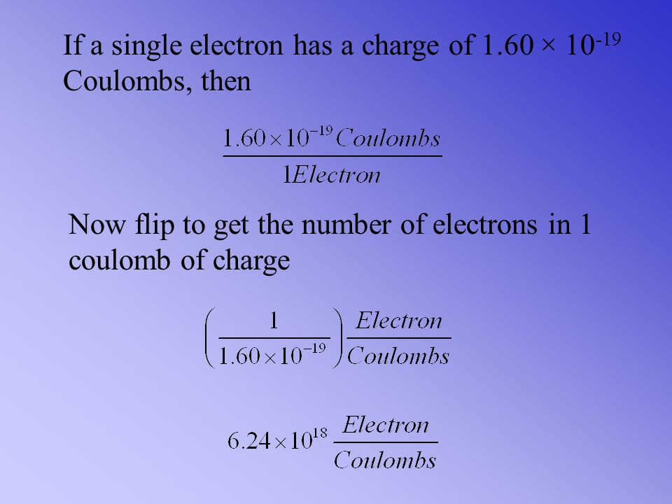 If a single electron has a charge of 1.60 × 10-19 Coulombs, then