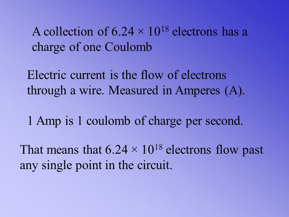 A collection of 6.24 × 1018 electrons has a charge of one Coulomb