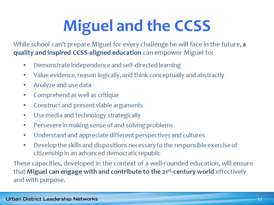 Miguel and the CCSS