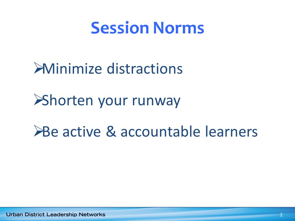 Session Norms Minimize distractions Shorten your runway