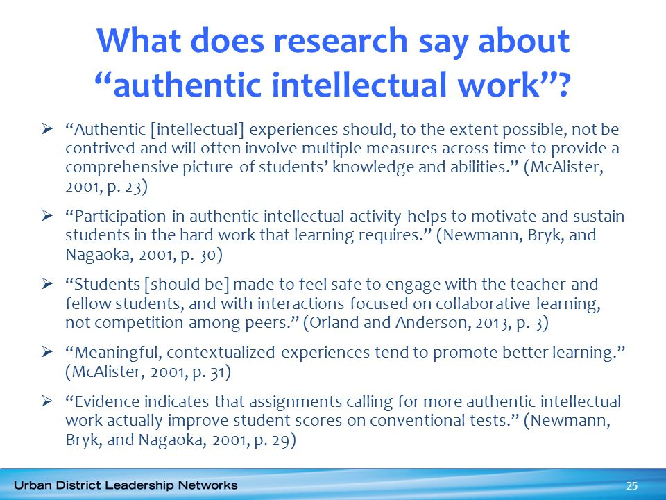 What does research say about authentic intellectual work