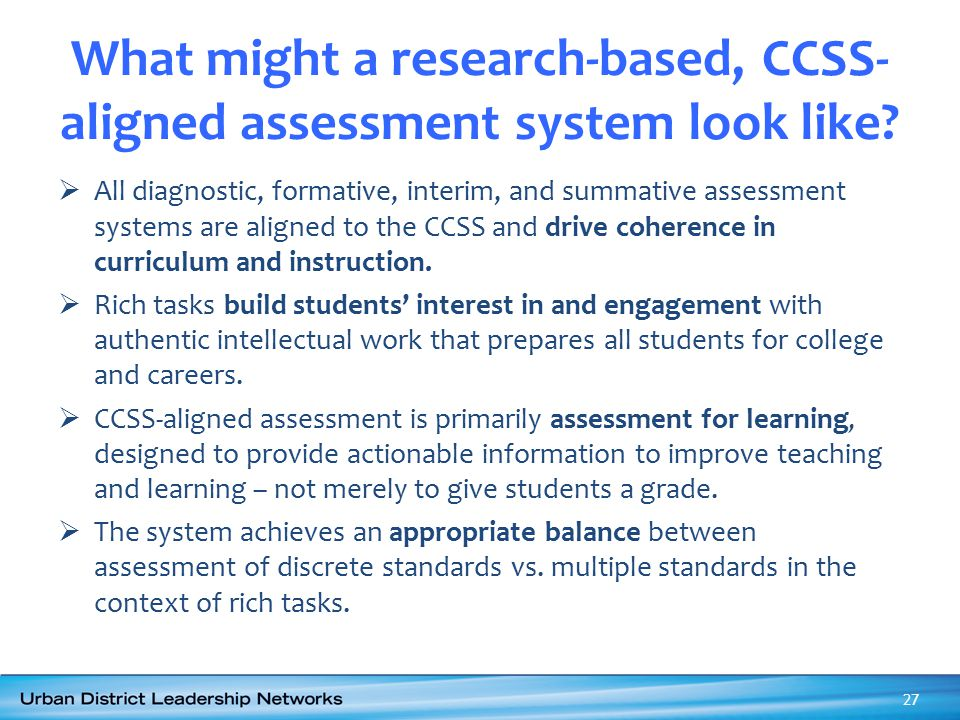 What might a research-based, CCSS-aligned assessment system look like