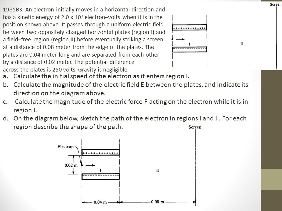 Calculate the initial speed of the electron as it enters region I.