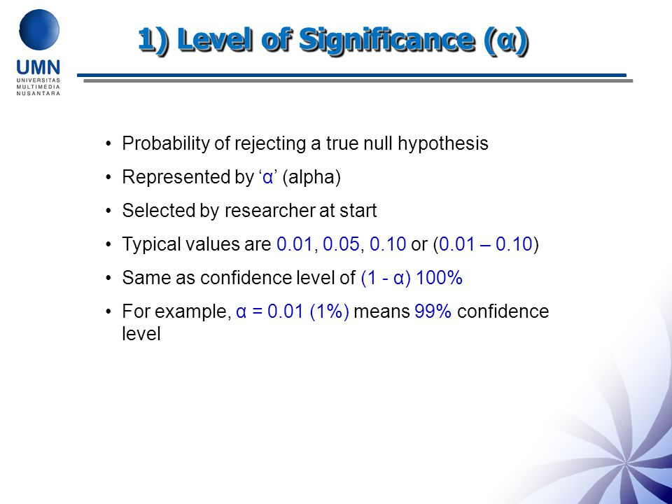 1) Level of Significance (α)