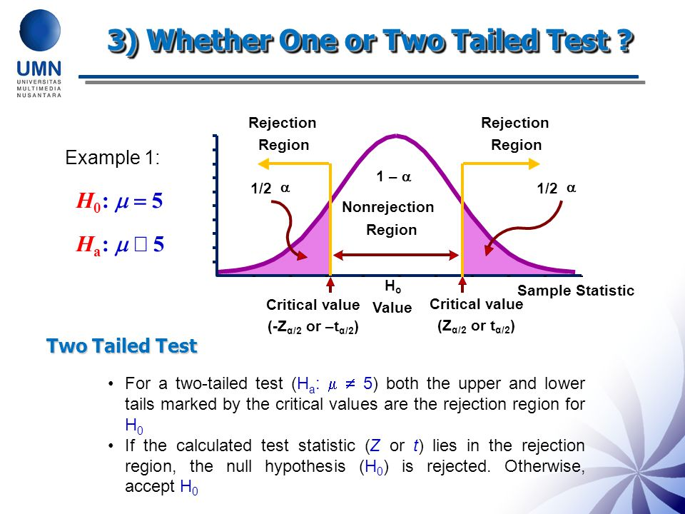 3) Whether One or Two Tailed Test