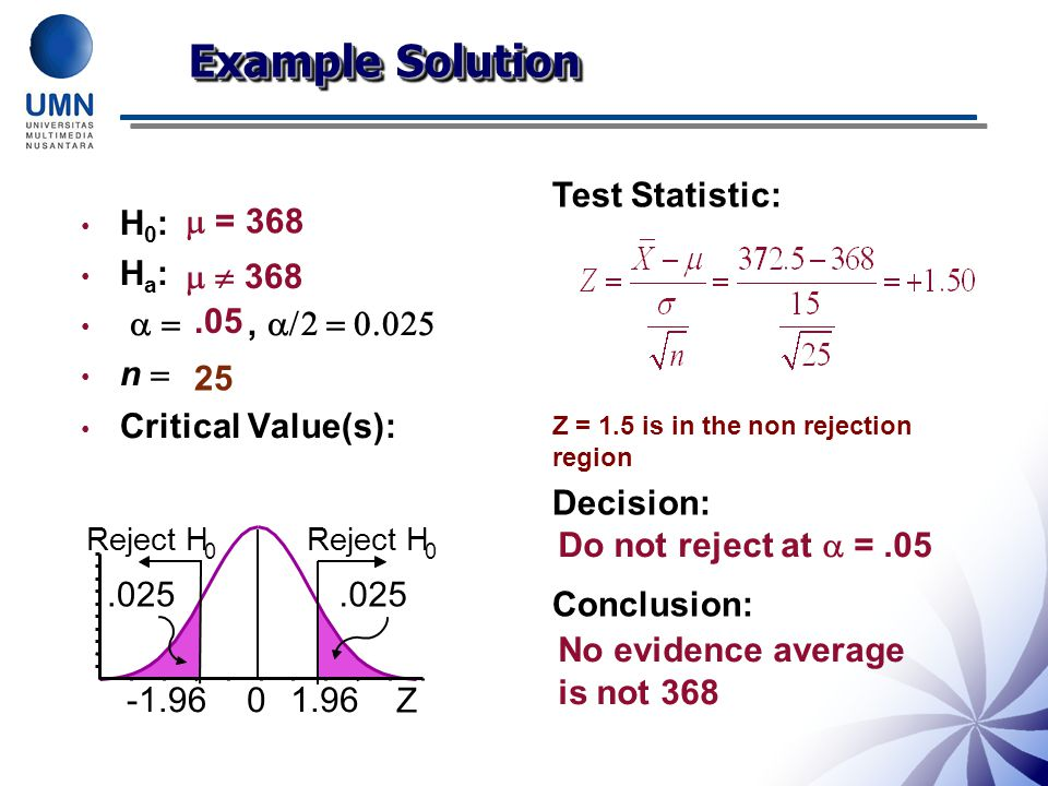 Example Solution Test Statistic: Decision: Conclusion: H0: Ha:
