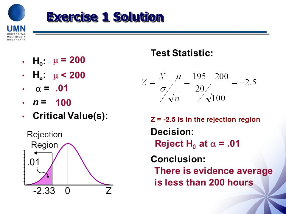 Exercise 1 Solution Test Statistic: Decision: Conclusion: H0: Ha:  =
