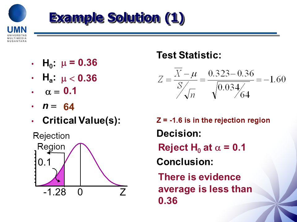 Example Solution (1) Test Statistic: Decision: Conclusion: H0: Ha:  