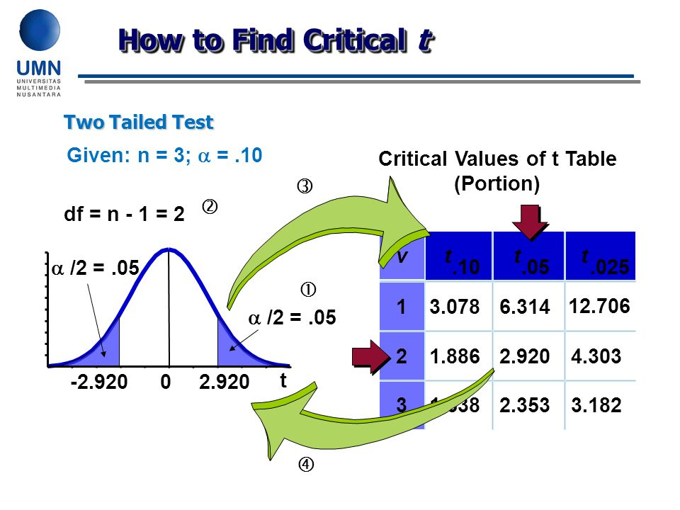 Critical Values of t Table (Portion)