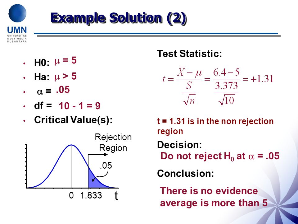 Example Solution (2) t Test Statistic:  = 5 H0: Ha:  =  > 5 df =