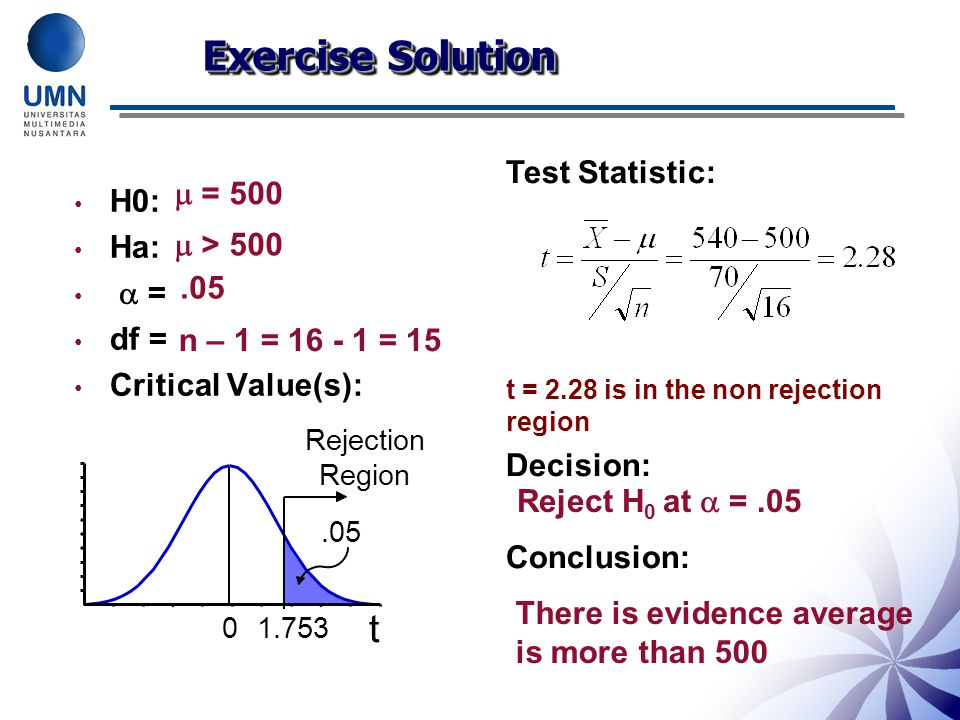 Exercise Solution t Test Statistic:  = 500 H0: Ha:  =  > 500